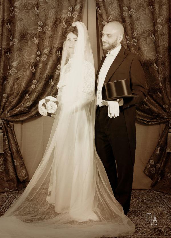 reconstitution paris 1900 photo mariés belle époque